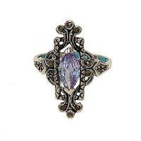 Antique Reproduction Silvertone Fashion Ring Set with Lavender Cubic Zirconia and Genuine Marcasite