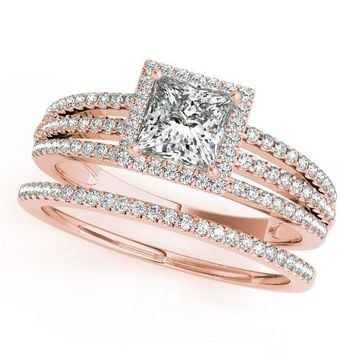 Princess Cut Wedding Set Diamond Halo Engagement Ring  and Wedding Band - Rain
