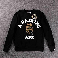 BAPE AAPE Trending Women Men Stylish Casual Long Sleeve Round Collar Sweater Top Sweatshirt Black I/A