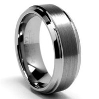 Men's Tungsten Carbide Brushed and Polished Beveled Edge Ring (7 mm) | Overstock.com