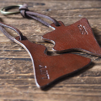 Personalized Leather Couple Keychain Set #Brown