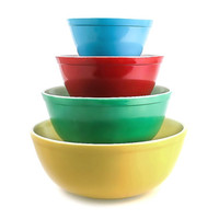 Antique Primary Color Pyrex Mixing Bowls / Vintage Nesting Mixing Bowls
