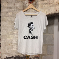 Johnny Cash Women's Sized Stylish Shirt Rock & Roll Shirt