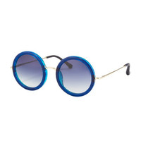 THE ROW Round Circle Sunglasses, Blue