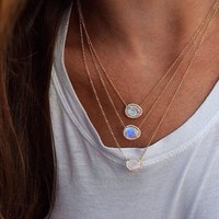 Ladies Popular Asymmetrical Moonstone Necklace