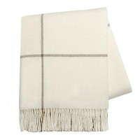 Windowpane Cashmere Throw Ecru & Taupe by Lands Downunder