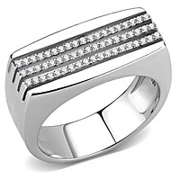 Mens Stainless Steel Rings DA279 Stainless Steel Ring with AAA Grade CZ