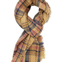 Oversized Plaid Wrap Scarf by Charlotte Russe - Natural Combo