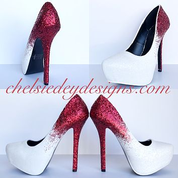 Red Glitter High Heels, White Ombre Platform Prom Pumps
