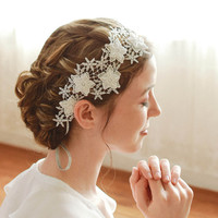 Lace headband, bridal headwrap, wedding headpiece, flower girl, bridemaids gift, bridal shower - style 218