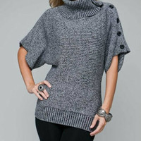 Knit Button Style Tunic Sweater in Gray
