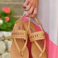 All In Stride Woven Sandals - Camel