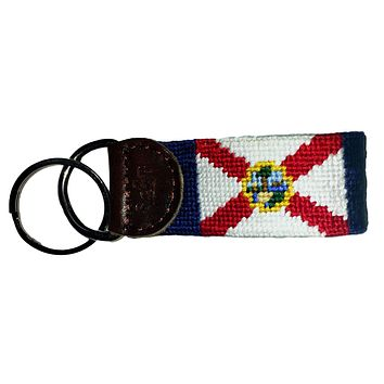 Florida State Flag Needlepoint Key Fob in Navy by Smathers & Branson