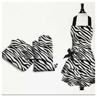 Zebra Print Kitchen Linen Set: Black and White Cotton Apron, Oven Mitt, Potholder, Dish Towel