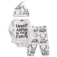 Fasihon born Infant Baby Boy Clothes Set Long Sleeve O-Neck Romper Tops Pant Hat Outfits Set NEW