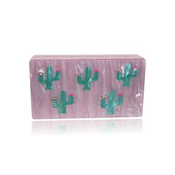 Pink and Green Cactus Acrylic Box Clutch