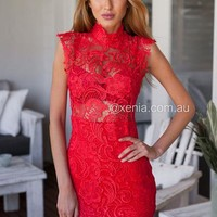 *Lace Goddess Dress (Red)