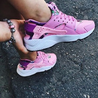 """NIKE""AIR Huarache Running Sport Casual Shoes Sneakers floral pink"