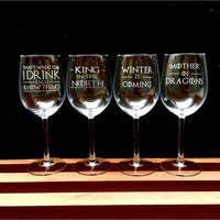 Elegant Wine Glass Set of 4 with Game of Thrones Quotes, Hand Etched, TWID - KITN - WIC - MOD