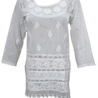 Mogul Interior Womens White Tunic Top Hand Floral Embroidered Crochet Lace Indian Beach Kurti Cover up