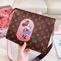 Louis Vuitton LV Fashion Women Leather Cute Mickey Print Shoulder Bag Crossbody Satchel