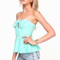 Bow Keyhole Peplum Top - LoveCulture
