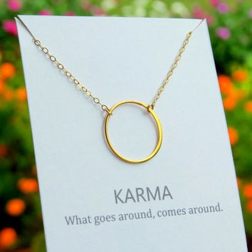 KARMA necklace, gold circle necklace, round ring, on necklace gift card.  Eternity ring circle, what goes around comes around
