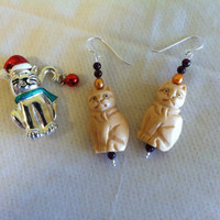 Tan Cat Earrings Handmade Carved Bone Cat Earrings With Red Garnets and Gold Pearls Cat Lovers Christmas Stocking Gift Feline Cat Jewelry