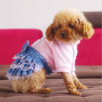 Denim Tooled Dog Skirt