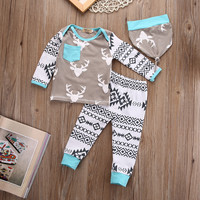 Newest Newborn Baby Girls Boy Deer Tops T-shirt Pants Leggings Hat 3pcs Outfits Set Christmas clothes for children drop ship