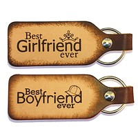 Best Boyfriend Ever Best Girlfriend Ever Leather Keychain Set
