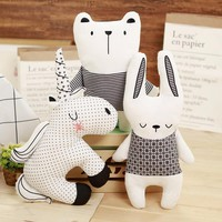 D 1PC Cute Animal Washable Unicorn Horn rabbit and bear Sleep Pillow Baby Child Kids Plush Toy Cushion Doll Babies Lovely Toys
