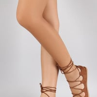Qupid Ballet Lace Up Flat