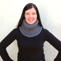 Cowl, Gray Snood, Ash Gray chunky cowl, knit scarf, titanium grey, unisex scarf, Neck warmer, Fall and winter cowl