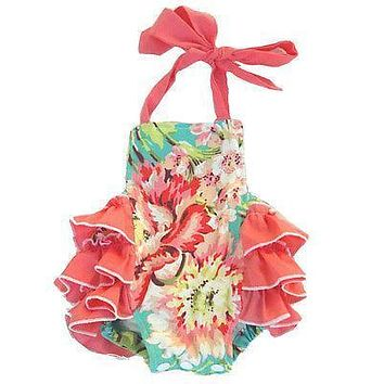Summer Casual Newborn Kids Infant Baby Girl Foral Ruffled Romper Sleeveless Floral Jumpsuit Outfit Clothes Baby Girl Romper