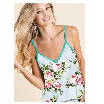 Adorable Floral Print Mint Sleeveless Top