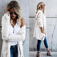 Outerwear & Coats Jackets Lambswool Hoodie Knit Cardigan Sweaters Outerwear With Pocket coats and jackets women 2018JUL30