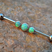 Green Fire Opal Industrial Piercing Barbell 14ga Surgical Steel Upper Earring Body Jewelry