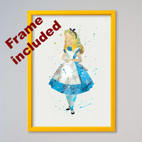 Alice in Wonderland DISNEY Alice Poster Watercolor illustrations, Art Print, Nursery Art Wall Decor gift for daughter FRAMED