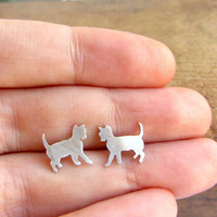 Cat post earrings, small animal sterling silver studs.
