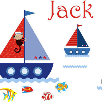 """Monogrammed Boat Wall Decals, Boats and Ocean Nursery Decor, Personalized Name Wall Decals, Boys Monogrammed Nursery Decals - 40"""" x 80"""""""