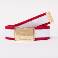 Un-Polo Two Tone Clamp Belt in White/Red/Gold - BELTS - ACCESSORIES