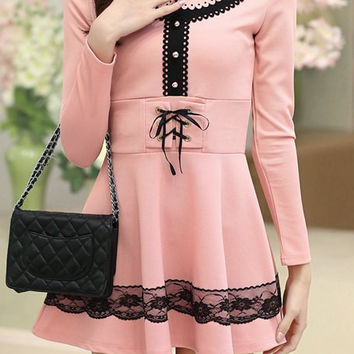Pink Lace Up Long Sleeve Flounce Dress