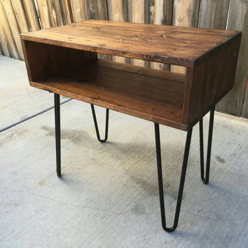 Honey side table, end table , coffee table reclaimed wood,  craft furniture,  night stand reclaimed wood mid century Modern