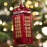 Red Telephone Booth Ornament | Pottery Barn