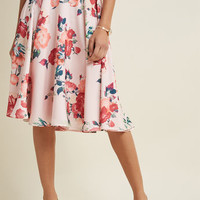 Ikebana for All A-Line Midi Skirt in Pink Petals