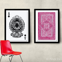 FREE SHIPPING Set of 2 Big Posters Playing Cards 20x30 (50x70cm) Home decor wall art prints Unisex gift, Fit into IKEA frames For him