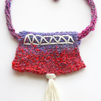 Red and purple, knit necklace, fiber jewelry, unique jewelry, bib necklace, statement necklace, choker