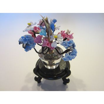 Venetian Glass Botanical Assembly Lampwork Studio Pot Of Birds Flowers