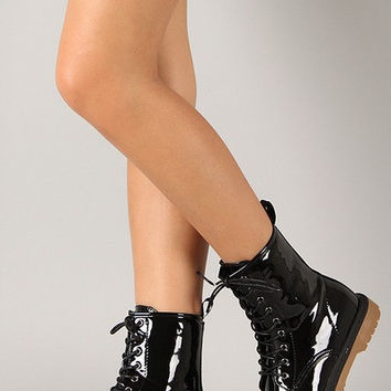 Black Polished Patent Zip Up Mid Calf Boots